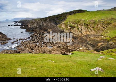 Atlantic seacoast cliffs and rocks on Achill Island off the west coast of Ireland - Stock Photo