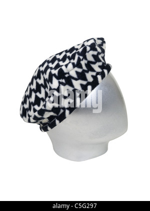 Silver head for modeling wearing a fashionable houndstooth beret - path included - Stock Photo