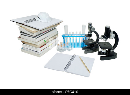 Laboratory research shown by microscopes and test tubes with a stack of books and note paper - path included - Stock Photo