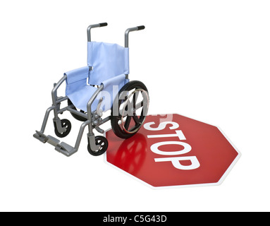 Wheelchair used for assistance in personal transportation on a red stop sign - path included - Stock Photo