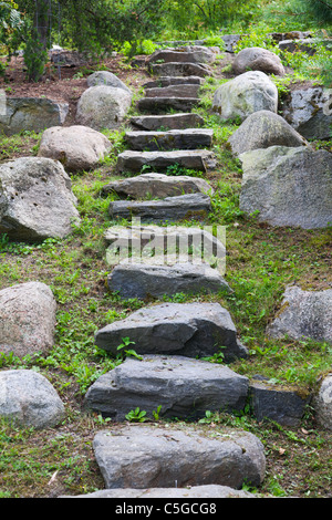 Irregular stones in a flight of steps - Stock Photo
