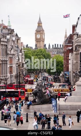 View towards Big Ben from Trafalgar Square, London, UK - Stock Photo