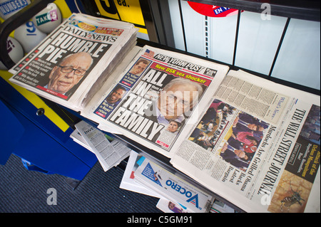 New York newspapers report (and don't report) on media mogul Rupert Murdoch testifying before British lawmakers - Stock Photo