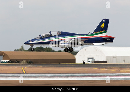 An Aermacchi MB339 of the Italian Air Force aerobatic team the Frecce Tricolori on finals - Stock Photo