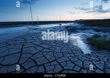 Mud patterns on the River Axe estuary at Uphill. Somerset. England. UK. - Stock Photo
