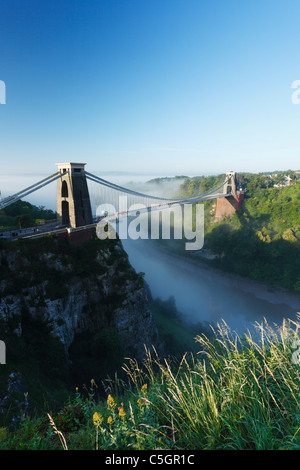 Morning mist in the Avon Gorge at Clifton Suspension Bridge. Bristol. England. UK. - Stock Photo