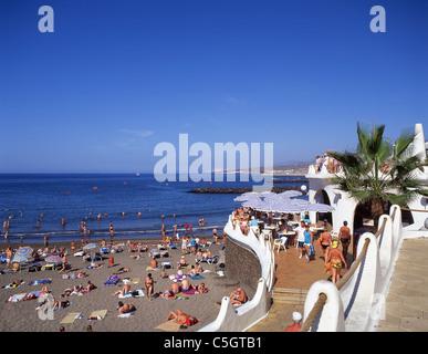 Outdoor restaurant, Playa Las Cuevitas, Playa de las Americas, Tenerife, Canary Islands, Spain - Stock Photo