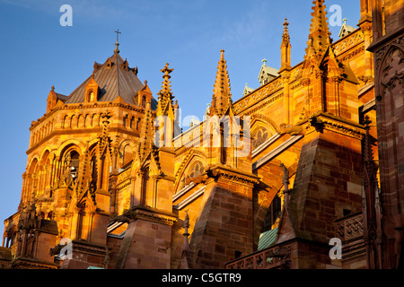 The massive and beautifully detailed Strasbourg Cathedral at sunset, Alsace Bas-Rhin France - Stock Photo
