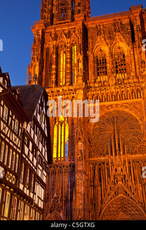 The massive and beautifully detailed Strasbourg Cathedral at twilight, Alsace Bas-Rhin France - Stock Photo