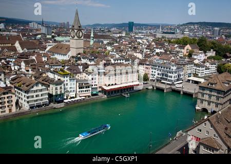 Above view of Zurich, Switzerland - Stock Photo