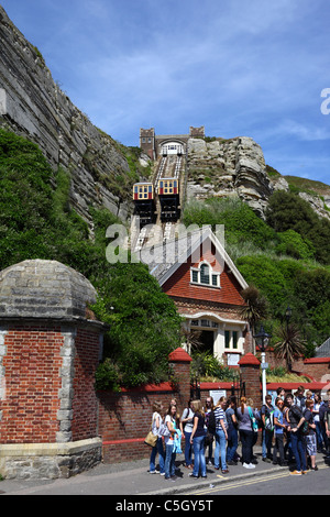 School group waiting to use the East Hill Lift funicular railway, Hastings, East Sussex, England - Stock Photo