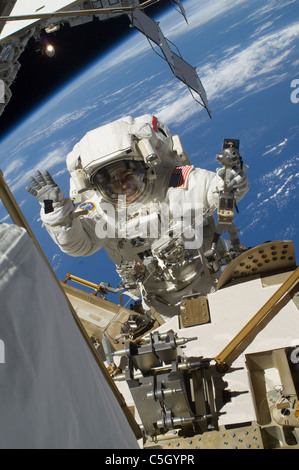 NASA astronaut Steve Bowen STS-132 mission specialist, participates in the mission's first session of extravehicular activity