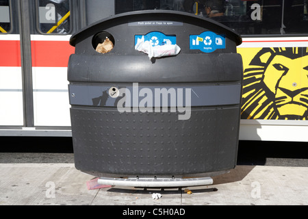 pedal operated city overflowing rubbish litter recycling refuse bin in toronto ontario canada - Stock Photo