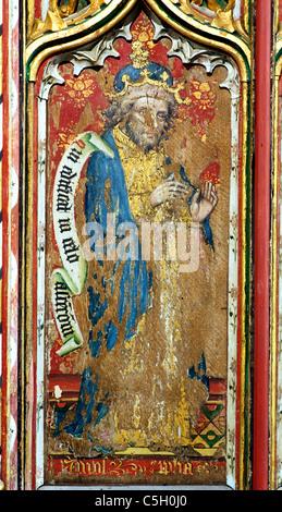 Thornham, Norfolk, rood screen, Prophet Amos Old Testament Prophets All Saints Church England UK English medieval - Stock Photo