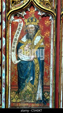 Thornham, Norfolk, rood screen, Prophet David carrying a harp Old Testament Prophets All Saints Church England UK - Stock Photo