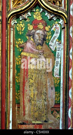 Thornham, Norfolk, rood screen, Prophet Jeremiah Old Testament Prophets All Saints Church England UK English medieval - Stock Photo