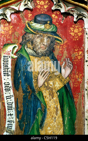 Thornham, Norfolk, rood screen, Prophet Micah Old Testament Prophets All Saints Church England UK English medieval - Stock Photo