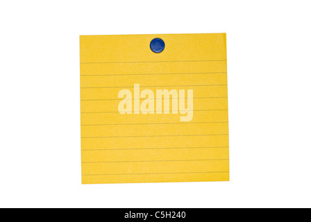 An isolated yellow sticky back note ready for user to fill in text. Includes clipping path - Stock Photo
