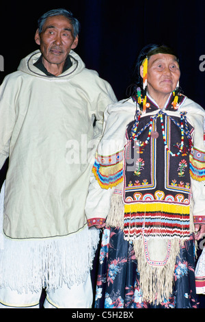Eskimo Inuit Man and Woman wearing Traditional Costume, Arctic Canada