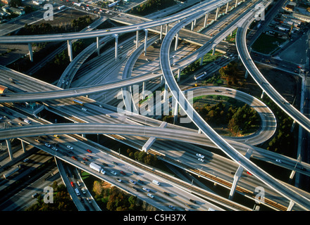 Aerial view of Los Angeles freeways - Stock Photo