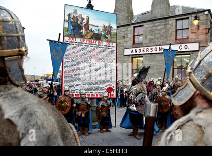 Vikings at the Up Helly Aa Fire Festival Shetland Islands - Stock Photo