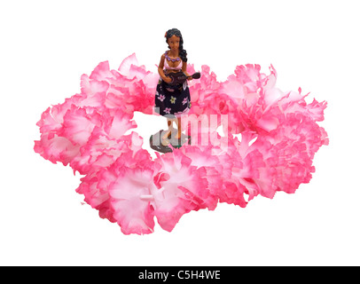 Pink and white Lei representing vacations and free time around a Hawaiian dancer with ukulele - path included - Stock Photo
