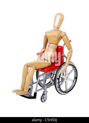 Riding a red wheelchair used for assistance in personal transportation when ambulatory methods are unavailable  - Stock Photo