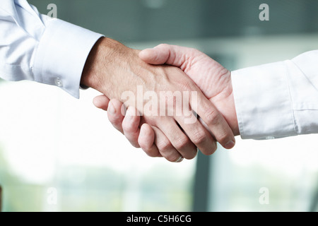 Close-up of two shaking male hands - Stock Photo