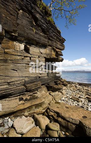 The Wave Nanaimo >> Eroded sedimentary sandstone rock strata on cliffs at Camas Daraich Stock Photo, Royalty Free ...