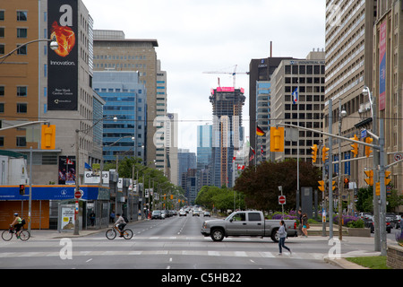 looking down university avenue in the area known as hospital row downtown toronto ontario canada - Stock Photo