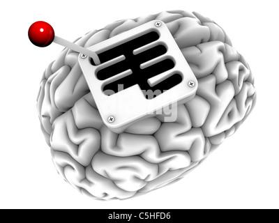 Brain with gearstick, computer artwork - Stock Photo