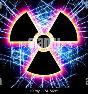 Radiation warning sign - Stock Photo