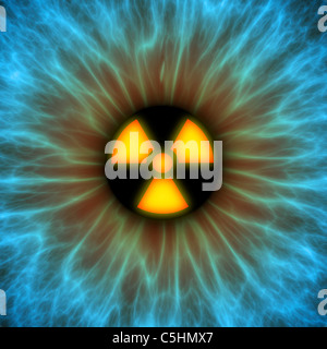 Iris with radiation warning sign - Stock Photo