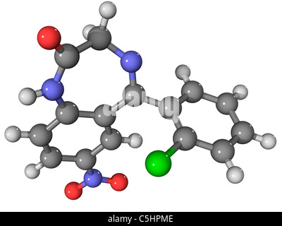 Clonazepam drug molecule - Stock Photo