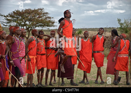 Masai men, doing a jumping dance, wearing traditional dress, in a village in the Masai Mara, Kenya, Africa - Stock Photo