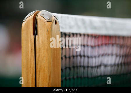 Close up of net post at the Wimbledon Championships - Stock Photo