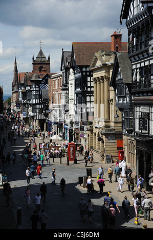 Eastgate Street in Chester city centre  An English historic city in Cheshire England - Stock Photo