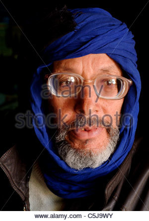 Portrait of an elderly Moroccan man alone - Morocco Africa - Stock Photo