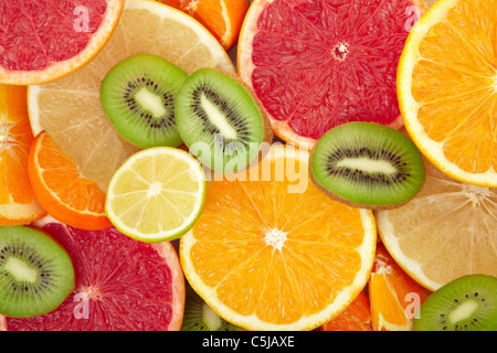 Citrus fruit and kiwi background