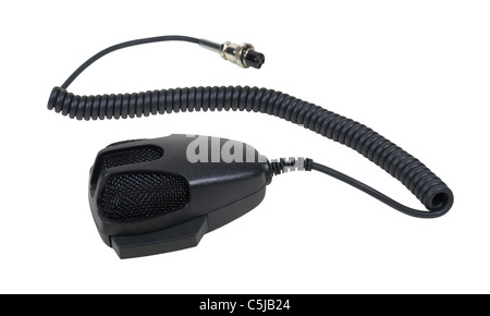 Hand Microphone used to communicate via citizen band radio - path included - Stock Photo