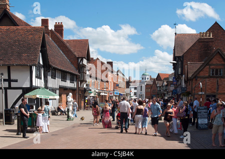 Henley Street in Stratford upon Avon, Warwickshire, England. - Stock Photo