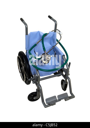Wheelchair used for assistance in personal transportation when ambulatory methods are unavailable - path included - Stock Photo