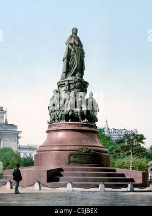 Monument of Catherine II the Great, St. Petersburg, Russia circa 1895 - Stock Photo