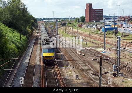 High speed passenger train on the Norwich to London mainline passing the East Suffolk junction, Ipswich, Suffolk, - Stock Photo