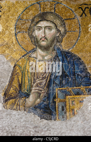 The Deesis mosaic with Christ as ruler, Hagia Sophia Museum, Istanbul, Turkey - Stock Photo