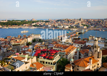 City of Istanbul in Turkey, view from the Beyoglu district over the Golden Horn and Galata bridge. - Stock Photo