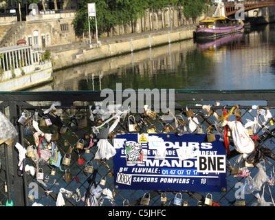 Love padlock on Pont de l'Archeveche bridge on the Seine river,Paris,France, - Stock Photo