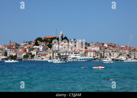 View of the Croatian town Primosten - Stock Photo