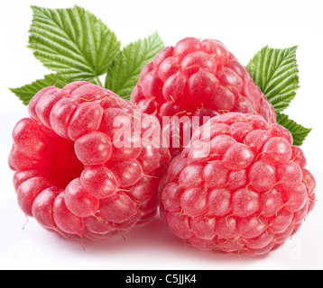 Three perfect ripe raspberries with leaves. Isolated on a white background. - Stock Photo