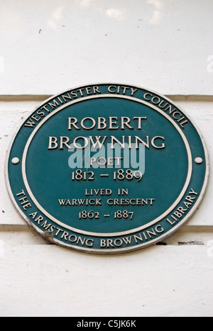 westminster council plaque marking a home of poet robert browning, in maida vale, london, england - Stock Photo